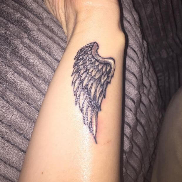 angel wing tattoos for females on wrist