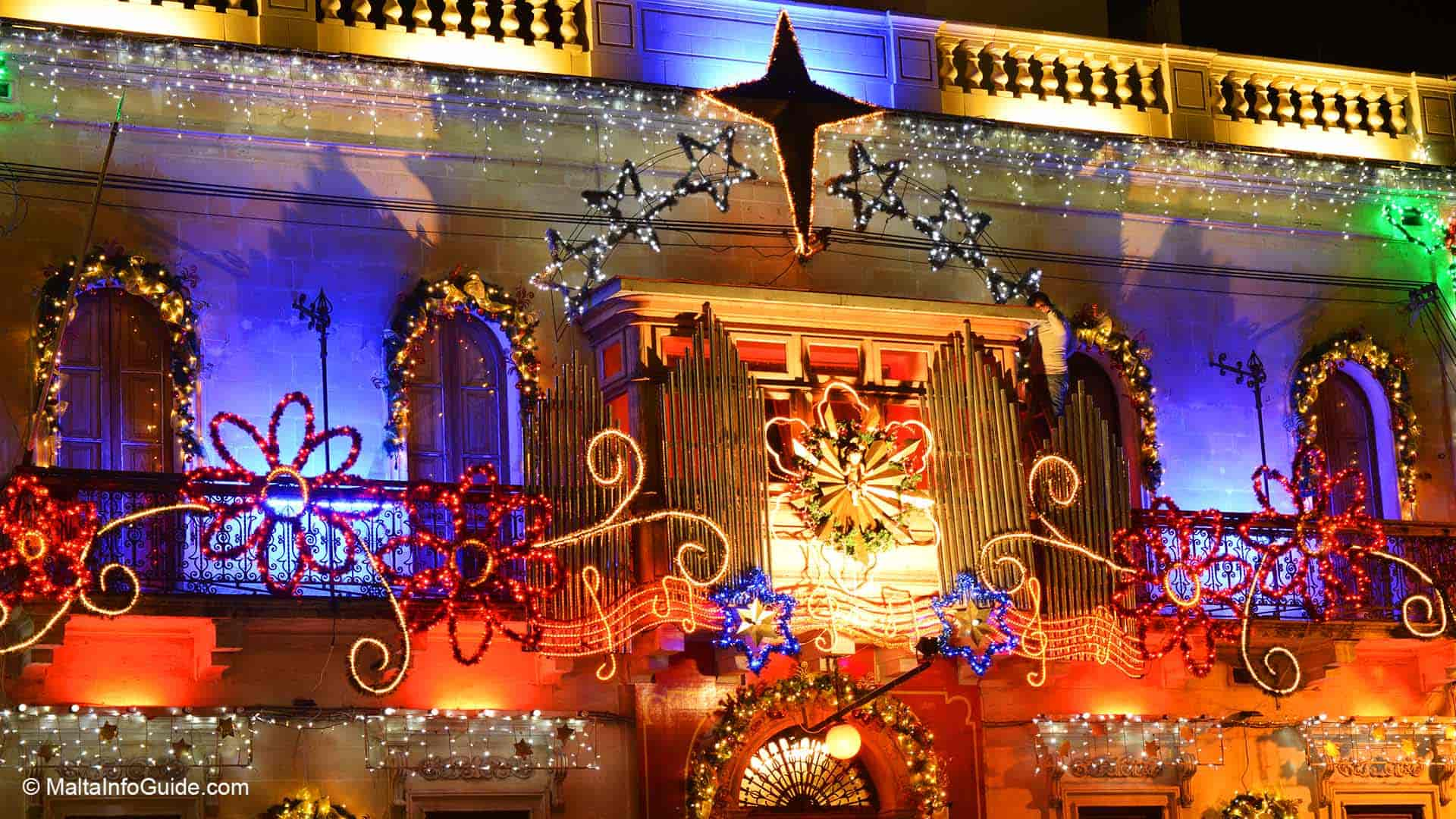 De Paul band club at Paola decorated for Christmas