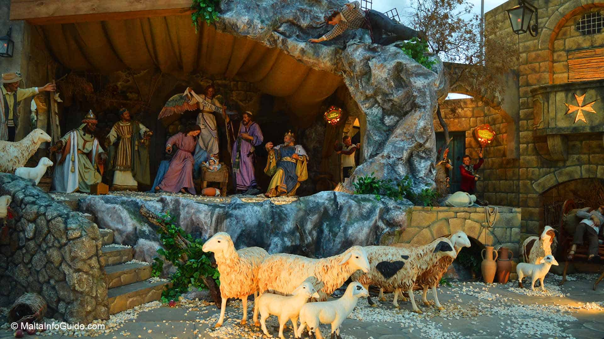A crib set during Christmas 2021 in Valletta