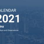 Year 2021 Calendar – China