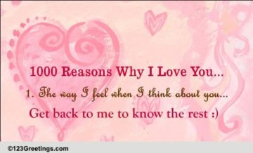 1000 Reasons Why I Love You! Free Heart to Heart eCards, Greeting Cards